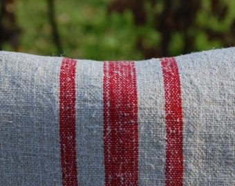 Vintage Hungarian grain sack in slubby, pale oatmeal linen with triple red stripes