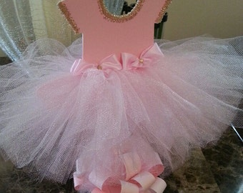Perfect Double Sided Pink TuTu Dress Centerpiece (Gold) / Ballerina Baby Shower /  Ballerina Centerpiece