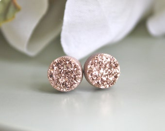 Rose Gold Earrings, Druzy Earrings, Bridesmaid Earrings, mothers day gift, stud earring, Bridesmaid gift, Best friend best selling item