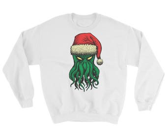 Cthanta (Cthulhu Santa) Sweatshirt (White) - Official holiday sweatshirt of the Cthulhu cult!