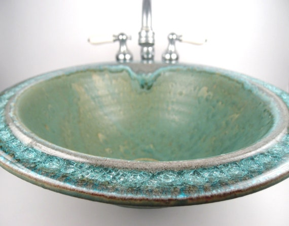 Made To Order Sea Green Ceramic Vessel Sink With Fused Glass
