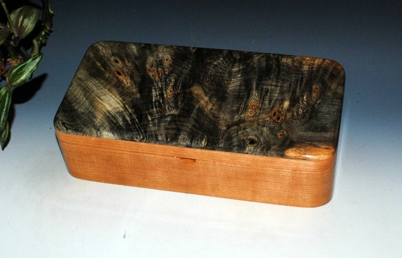 Handmade Wood Box With Tray-Buckeye Burl on Cherry- Jewelry Box, Wooden Box, Wood Box With Lid, Wood Boxes, Wooden Jewelry Box - Stash Box