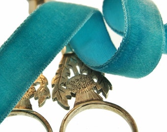 Vintage French Velvet Ribbon Wholesale 16mm Teal Velvet Ribbon by the yard Jewelry Ribbon Craft Embellishments #136 Made in France