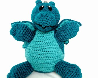 Teal Dragon Stuffed Animal - Dragon - Drake - Blue Dragon - Plush Toy - Machine Washable - Teal with Aqua - Baby Shower Gift - Unisex