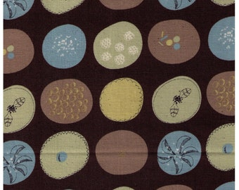 Sale (25) HALF YARD Kokka - Trefle - Modern Nature Circles - Blue Green and Tan on BROWN - Cotton Loose Weave Canvas (Canvas Gauze) Japanese