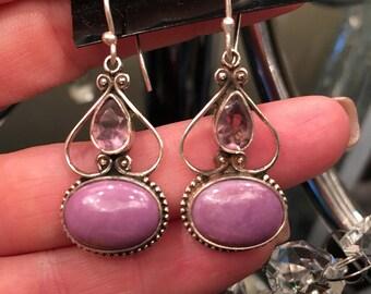 Purpulite, 925 Sterling Silver Vintage Style Earrings