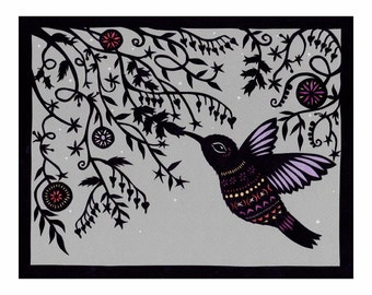 Hummingbirds, Sing to Me - 8 x 10 inch Cut Paper Art Print