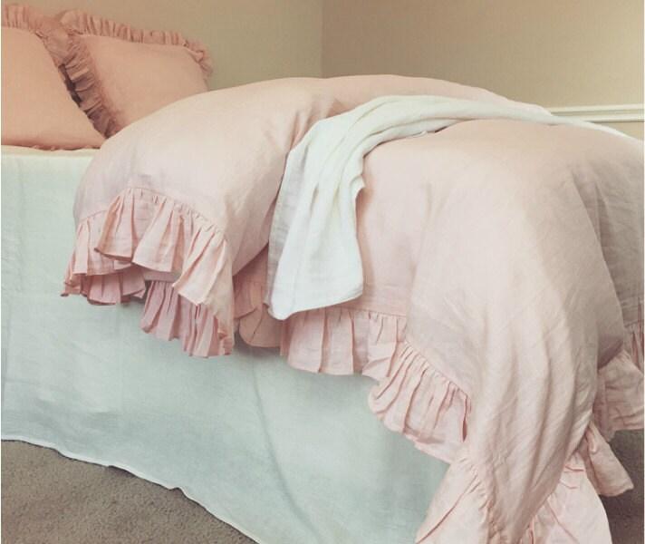 Pink Ruffle Duvet Cover Handmade In Natural Linen Shabby Chic
