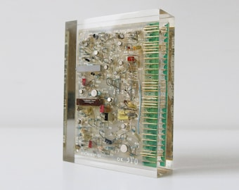 Vintage tech-art lucite paperweight with circuit board