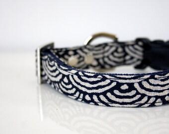 Japanese indigo Seigaiha waves Dog Collar - Silver