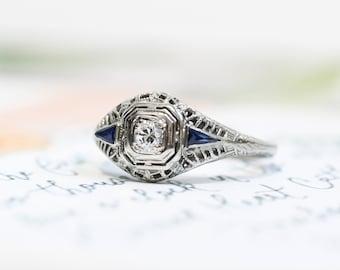 Vintage Hand Engraved European Cut Diamond & Kite Shaped Sapphire Ring in 18K White Gold Size 6
