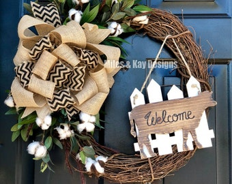 """18"""" Farmhouse Animal Grapevine Welcome Wreath - Made to Order"""