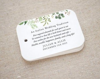 Greenery Sugared Almonds Personalized Gift Tags, Jordan Almond Favor Tags, Wedding Favor Tag, Italian, Greek, Set of 20 (Item code: J741)