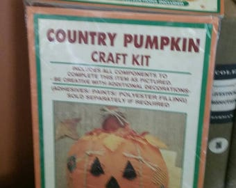 Homespun Creations Country Pumpkin Craft Kit/Halloween/Fall Decor Craft/Kid's Craft/Unopened Package/Cloth Stuffed Pumpkin/Jack O Lantern