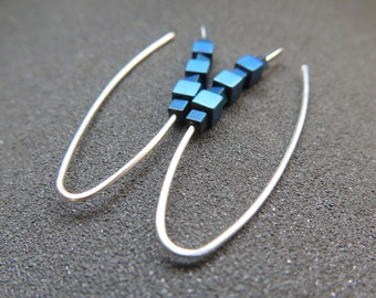 blue hematite earrings. sterling silver earings. turquoise jewellery.