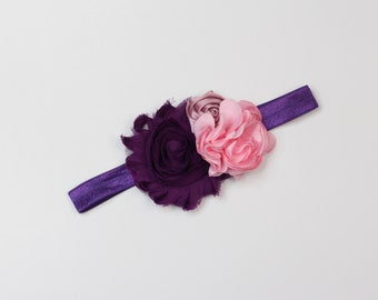 Plum and Pink Floral Headband