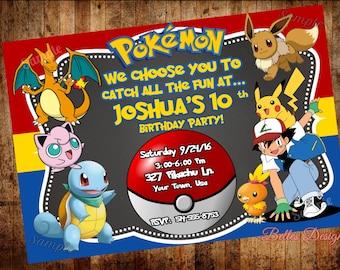 Pokemon Birthday Invitation, Pokemon Party Invitations, Birthday invitations, Pikachu party, (Digital File)