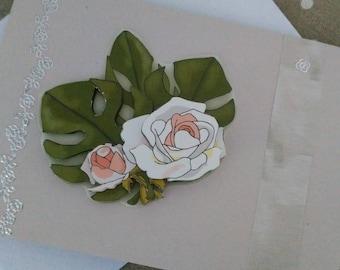 """Card 3D """"Condolences white flower"""""""