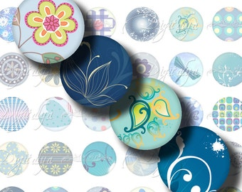 Shades of Blue (1) Digital Collage Sheet - Circles 1inch - 25mm or smaller for magnets, buttons - See Promo Offer