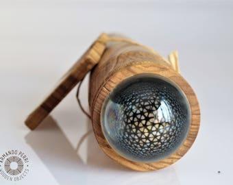 Teleidoscope in olive wood. Kaleidoscope handmade OOAK.