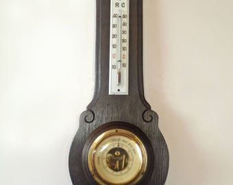 Antique wood barometer Carved wood wall decor Weather station barometer Wooden thermometer Weather forecast device Wood wall hanging decor