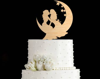 Moon cake topper lesbian,Mrs and mrs wedding cake topper,mrs and mrs wedding topper,lesbian cake topper wedding,lesbian cake,6942017