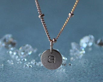 Double sided Solid 14kt gold Initial Pendant  or Charm 14kt white gold 14kt rose gold 14kt yellow gold handstamped personalized circle disc