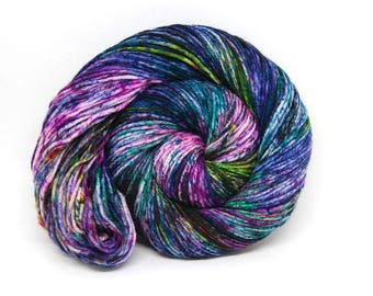 "Dubstep DK Yarn - ""Acid Rainbow"" - Handpainted Superwash Merino - 231 yards"