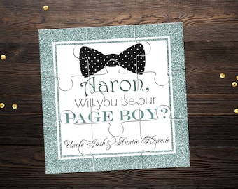 Will You Be My Page Boy Personalized Groomsman Puzzle Invitation Will You Be My Ring Bearer Proposal Gift Wedding Invitation
