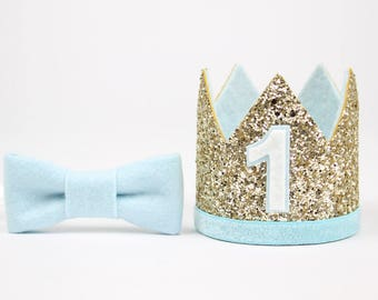 First Birthday Glitter Crown | Birthday Party Hat | 1st Birthday Hat | Pale Gold + Baby Blue 1
