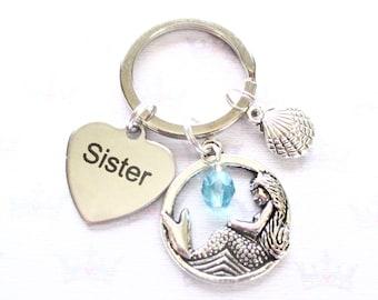 Mermaid keyring for sister - Personalised sister keychain - Birthstone keyring - Sister birthday - Mermaid keychain - Sister keyring - UK