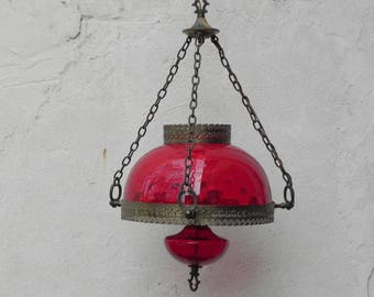 Large Cranberry Glass Hanging Parlor Lamp, Oil Lamp Style, Two Tierred