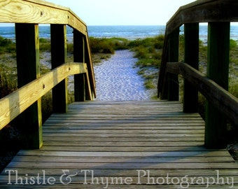 Beach Boardwalk Photographic Art Print - Beach photography 5x7