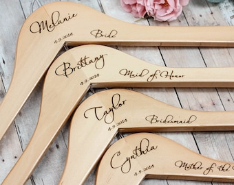 11 Bridesmaid Hangers, Engraved Wooden Hanger, Personalized