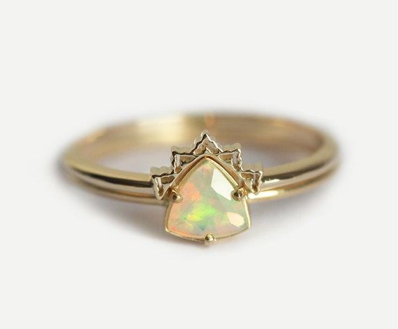Opal Engagement Ring Set Opal Wedding Ring Lace Wedding Set