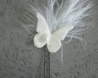 PIC, hair tie jute / linen / lace feather wedding party