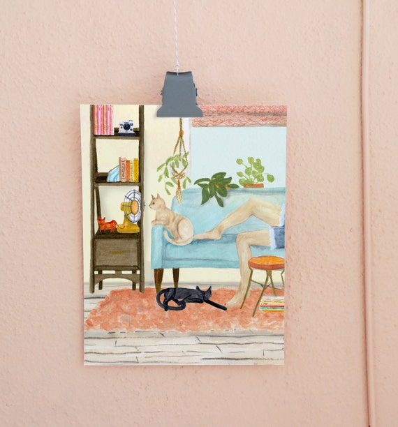 Cat Days of Summer art print of an original watercolor