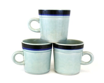 Vintage 'Two By Two' Banded Blue Coffee Mugs, Set of 3 (E5808)