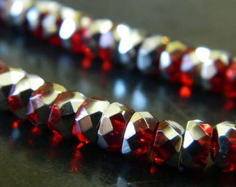6x3MM Red & Silver Czech Fire Polished Belly Rondelle Beads - Boho Crystal Rondelles - Czech Glass Beads - 36 Beads Per Strand CB04
