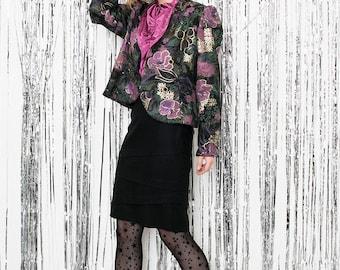 Vintage black midi tube skirt . Classic knee length 90s skirts . Elegant party pencil high waisted skirts .