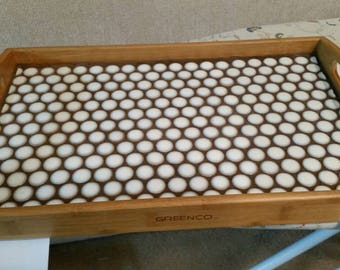 10.5 x 16.5 service tray white penny tiled