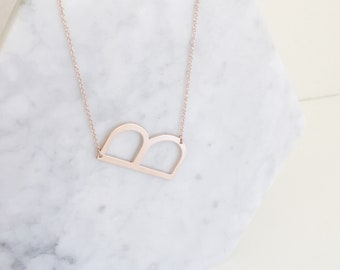 Delicate Rose Gold Initial Monogram Necklace | Rose Gold Necklace | Letter Necklace | Rose Gold Letter Necklace | Initial Necklace | Rose