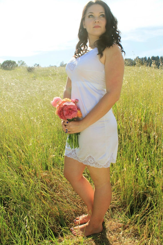 LORRAINE Slip Dress Vintage Night Gown Lace Lingerie White Nightie Intimates Layering