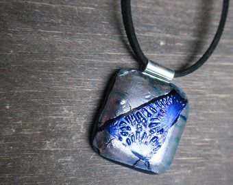 Silver Mermaid Dichroic Glass Necklace