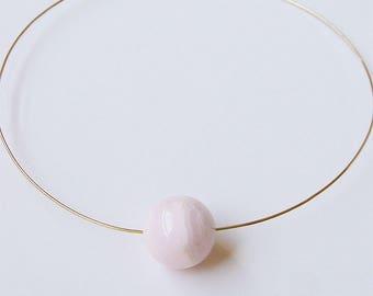 Rosequartz Neck Cuff Necklace Gold Filled