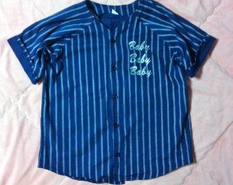 90s Deadstock Vintage Baseball Jersey, Vintage Blue Baseball Jersey, Pinstripe Blue Baseball Jersey Shirt, Pinstriped Baseball Jersey