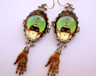 Madam Zolta Deco Fortune Teller Earrings in Antique Silver Tone.