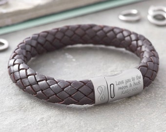 Personalised 'I Love You' Men's Leather Bracelet (HBMB01)