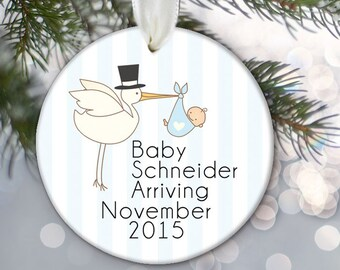 Birth Announcement, Pregnancy Announcement for baby boy or baby girl, Choose color Personalized Christmas Ornament, Baby Shower Gift OR333