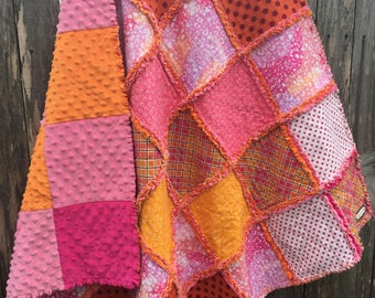Rag Patchwork Quilt - Handmade with Flannel of Oranges and Pinks with Orange, Pink, and Hot Pink Minky; Baby Crib Blanket; Throw Quilt;